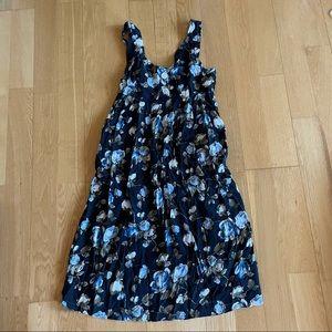 Vintage blue floral flowy summer dress size 13/14